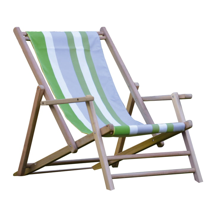 Jan Kurtz - Deckchair teak, Designer Guild stripe covering Tarifa Leaf