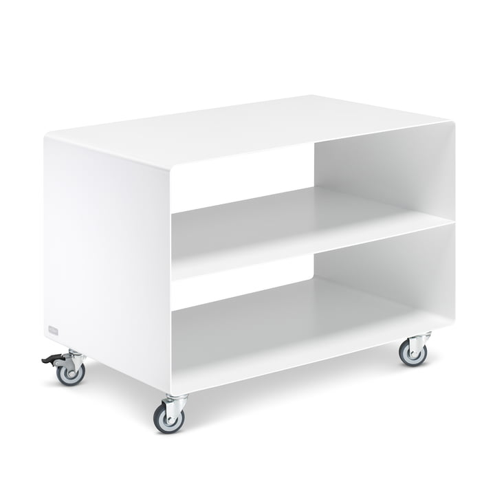 R 103N trolley with central base from Müller Furniture Manufacturing in satin matt signal white (RAL 9003)