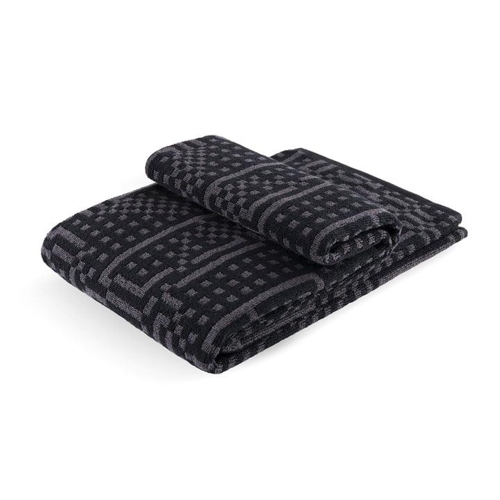 Zuzunaga - Route Black and Dark Grey Bath Towel, 70 × 140cm