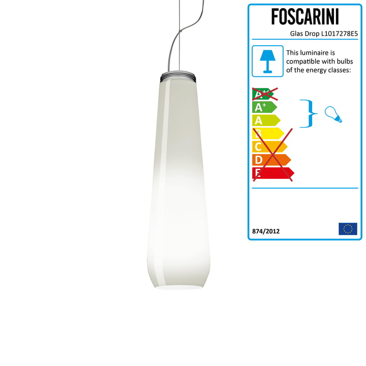The Glass Drop Pendant Lamp in White, 2 m by Diesel Living