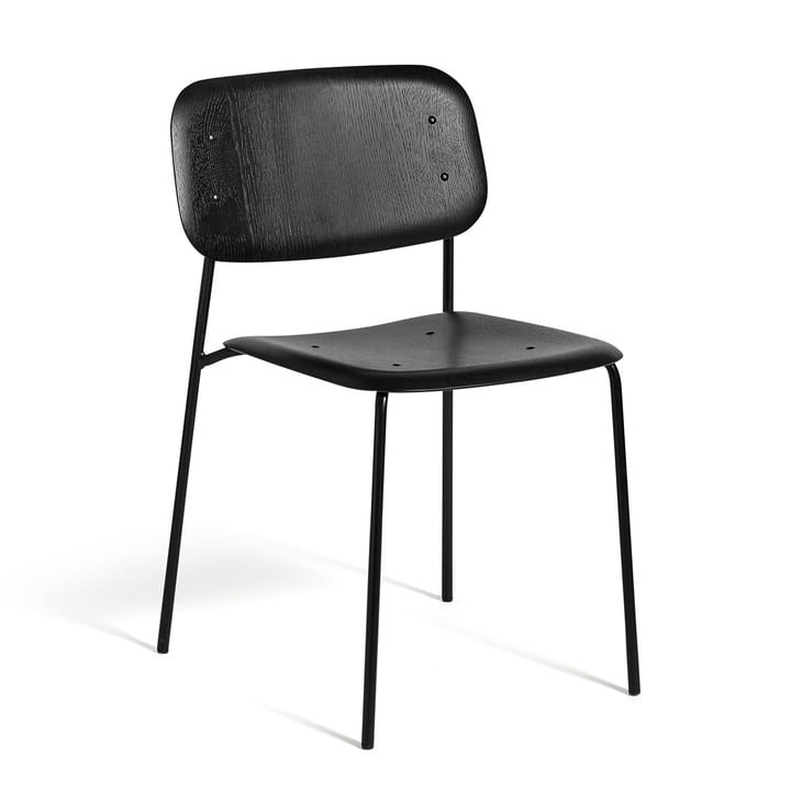 The Hay - Soft Edge chair in stained black oak and with a black, powder-coated steel frame.