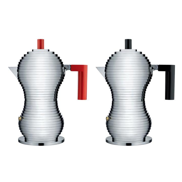Pulcina Espresso Maker in Medium by Alessi in black and red