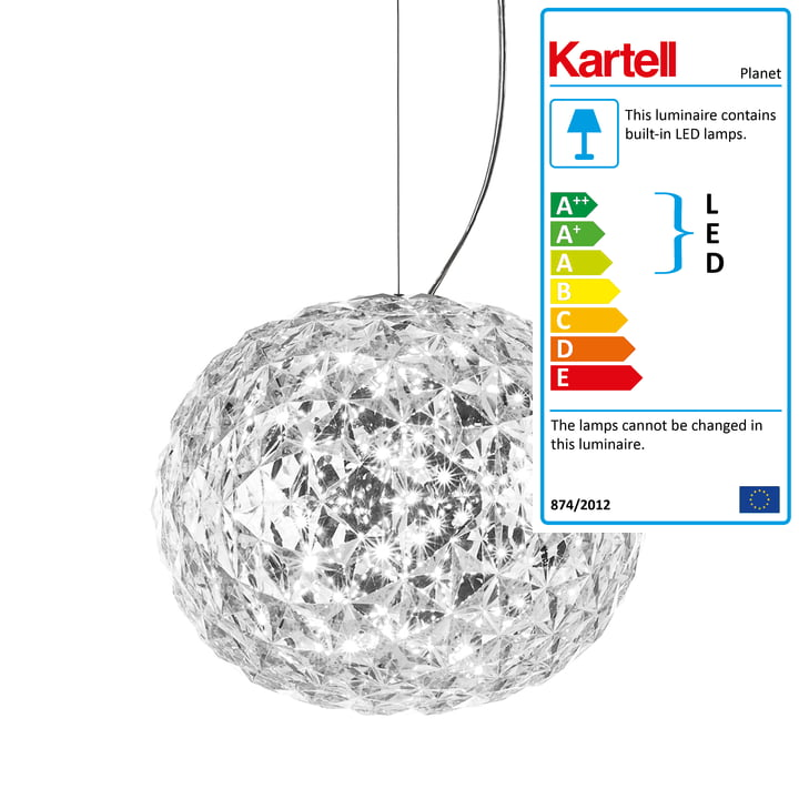 Planet LED pendant lamp by Kartell in crystal clear