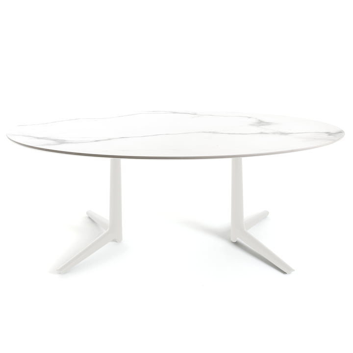 Oval Multiplo Dining Table 192 x 118 cm by Kartell out of earthenware marble style in white