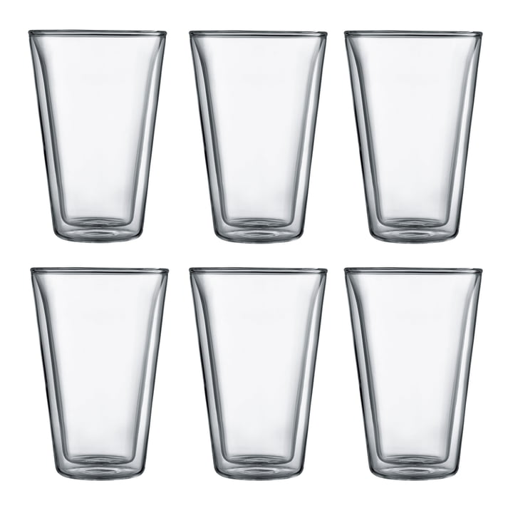 Bodum - Canteen Glass, double-walled, 0.4 l, transparent (set of 6)