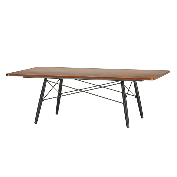 The Eames Coffee Table in palisander veneer with a pedestal made of black ash by Vitra.