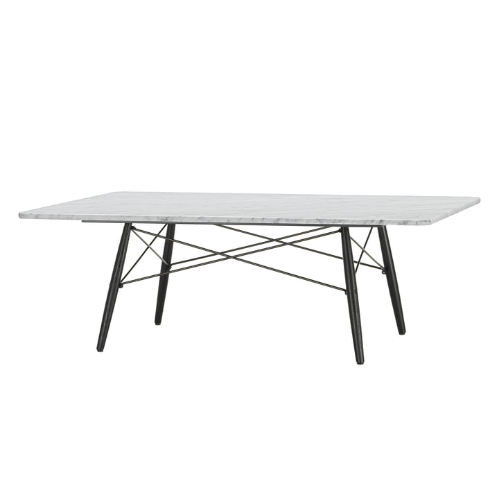 The Eames Coffee Table in white marble with a black pedestal by Vitra