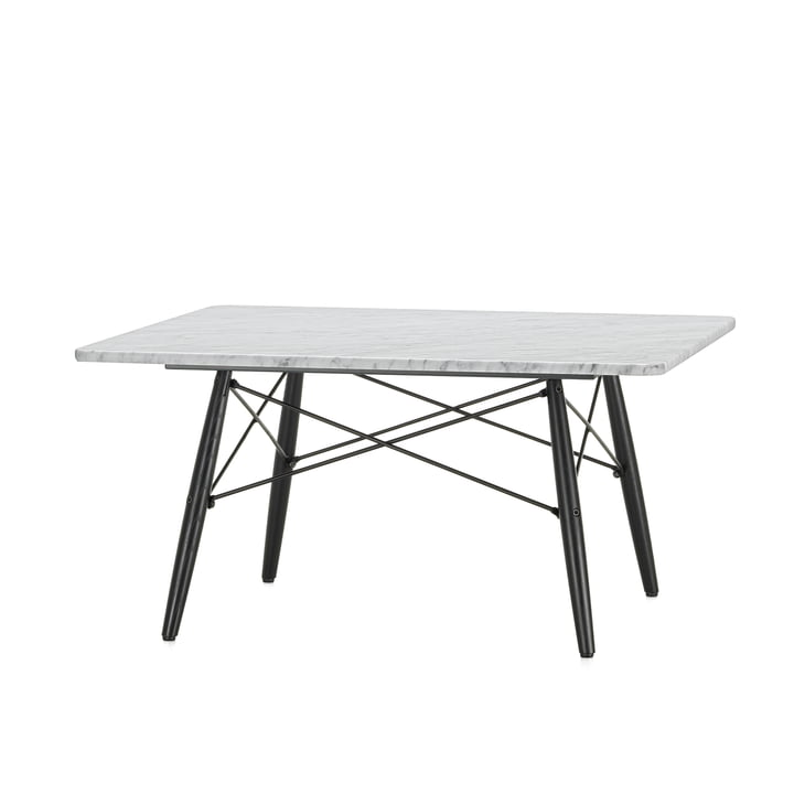 The Eames Coffee Table square in white marble with a black ash pedestal by Vitra
