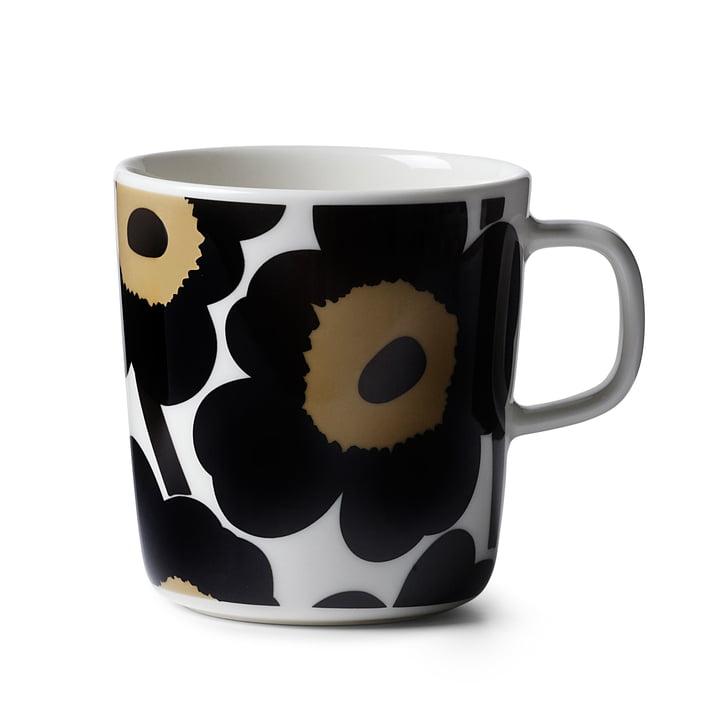 Marimekko - Oiva Unikko Cup with handle, 400 ml, white / grey