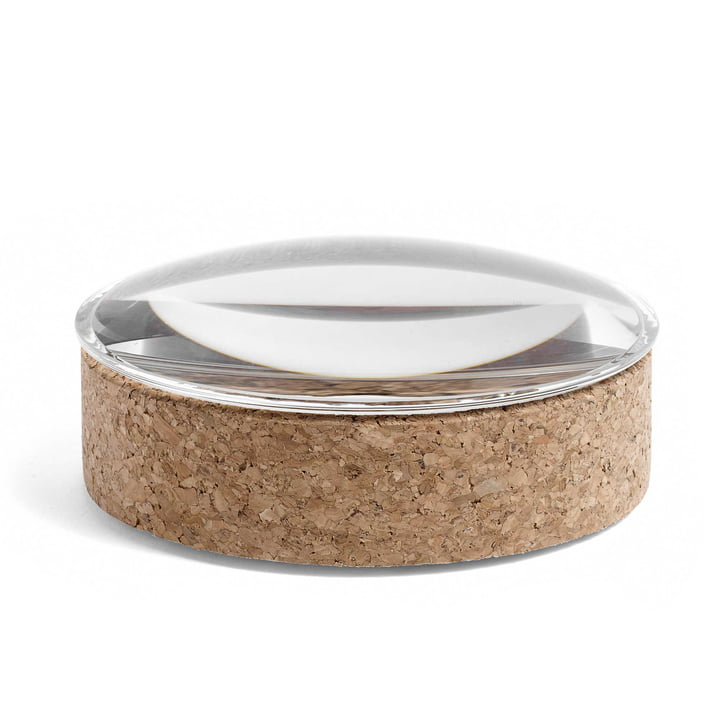 Hay - Lens Box with Lid M, stackable, Ø 14 cm, cork / glass
