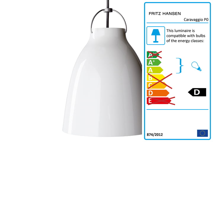 Fritz Hansen - Caravaggio P0 Pendant Lamp, glossy white