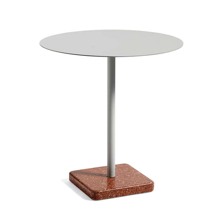 Hay - Terrazzo Table round Ø 75cm, light grey / red