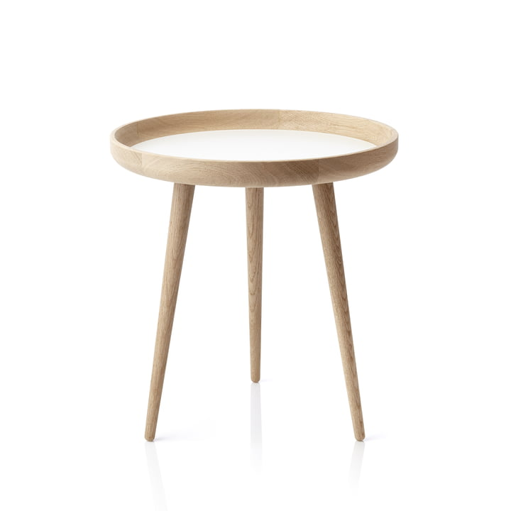 The applicata - Table Ø 49cm, oak / white laminate
