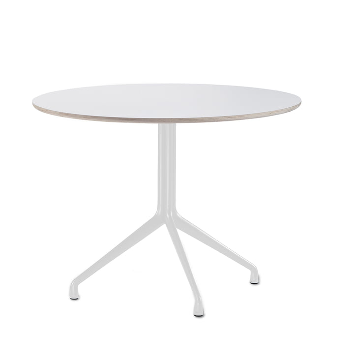 Hay - About A Table AAT 20 dining table, 3 legs, Ø110 cm, white / white (plastic glides)