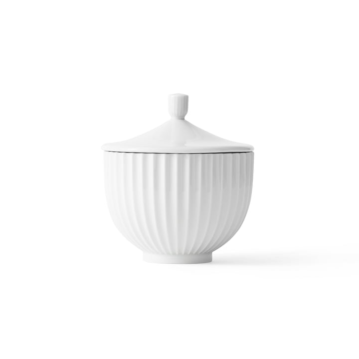Bowl with Lid porcelain ø 14 cm by Lyngby Porcelæn in white