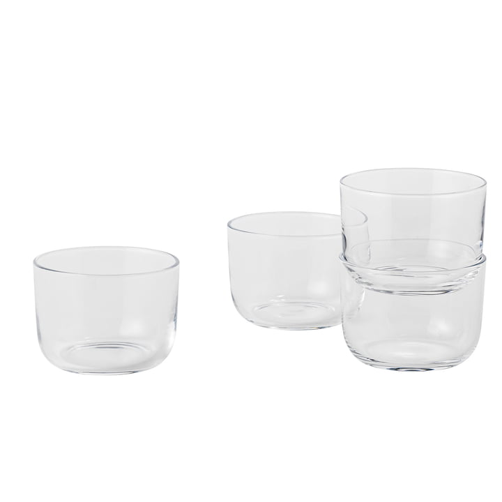 Corky drinking glasses (set of 4) low by Muuto in clear