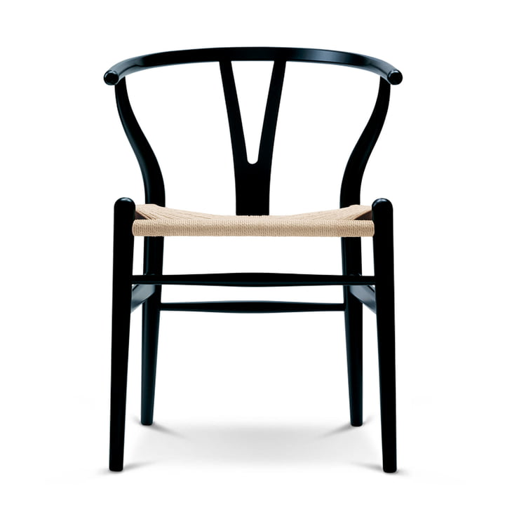 CH24 Wishbone Chair from Carl Hansen in beech black / natural wickerwork