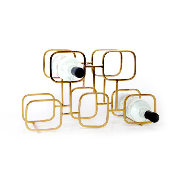 Gavi Wine Rack for 5 bottles by XLBoom in brass