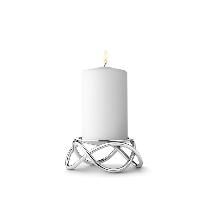 The small Glow Pillar Candleholder by Georg Jensen in matt stainless steel