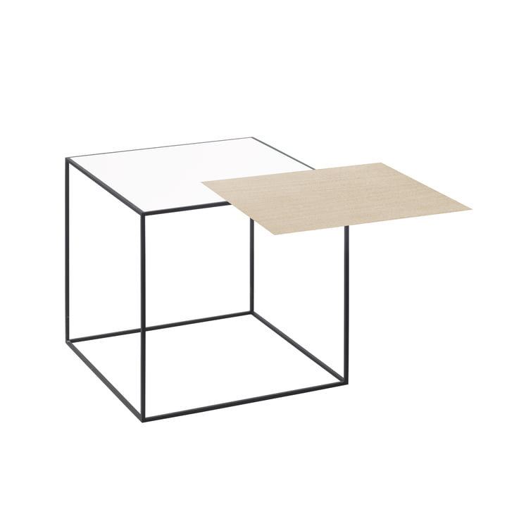 by lassen - Twin 35 Side Table, Black Frame, White / Oak