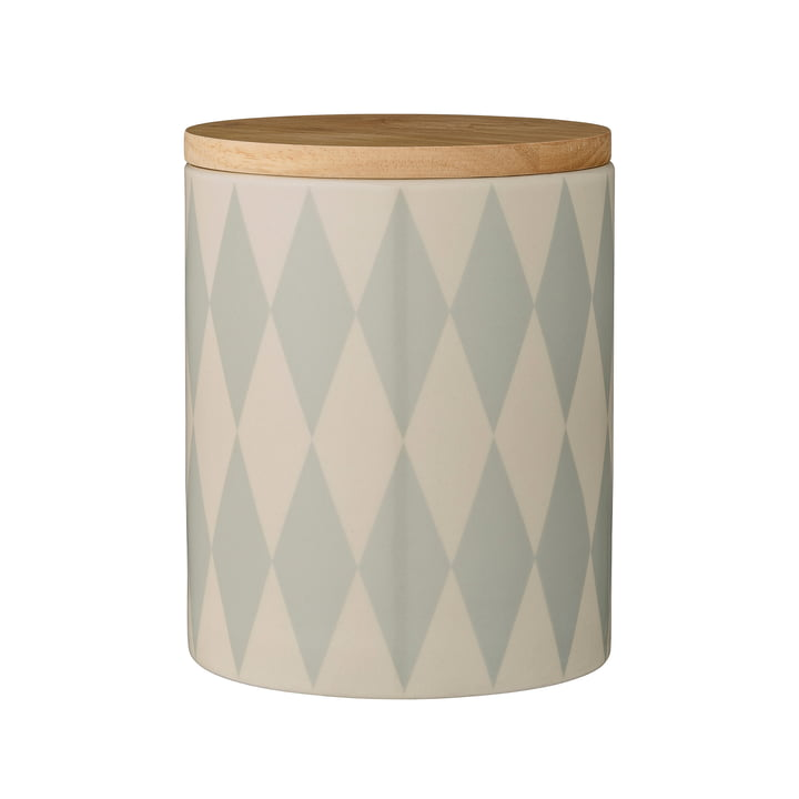 Bloomingville - Storage Jar with Bamboo Lid, sky blue, Ø14.5 x H18 cm