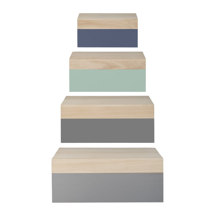 Bloomingville - Wooden Storage Boxes (set of 4), natural / pastel