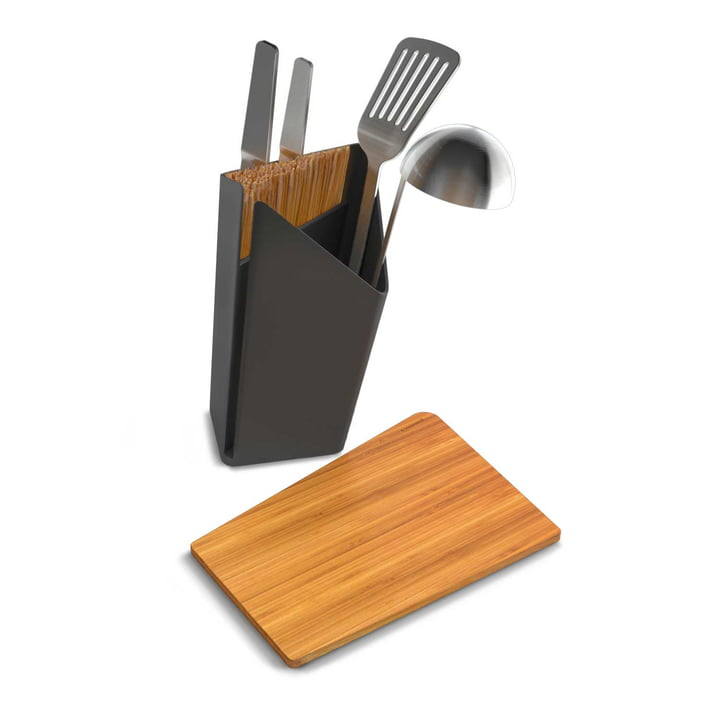 Utensils and Knife Holder incl. Cutting Board by Black + Blum