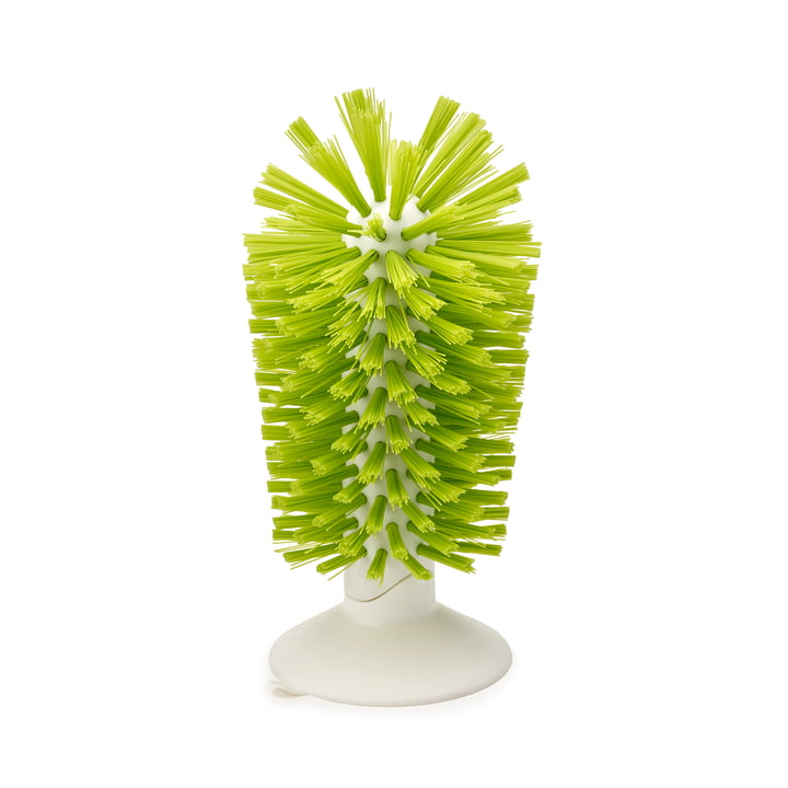 Brush-up suction cup brush by Joseph Joseph in white / green