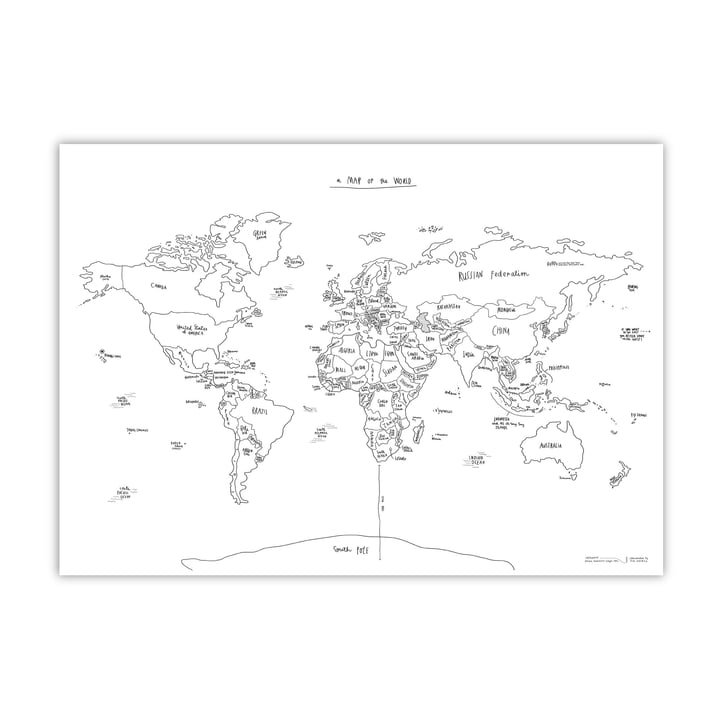 Awesome Maps - Hand-lettered World Map Sketch Map