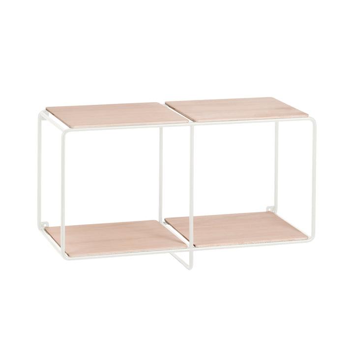 Korridor - AnyWhere 1 x 2 wall shelf with coat rack, white / oak