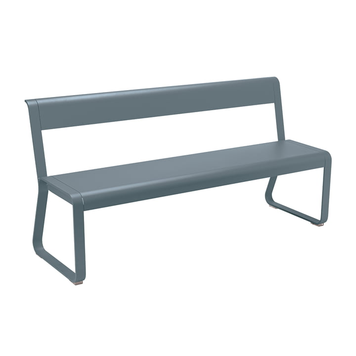 Bellevie Bench with Backrest from Fermob in Storm Grey