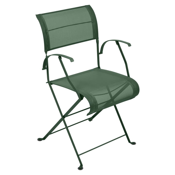 Dune Folding Chair with Armrests by Fermob in Cedar Green