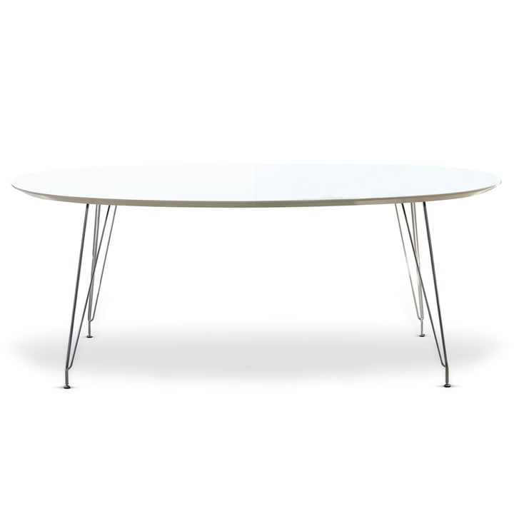 DK10 Dining Table Oval by Andersen Furniture (top white laminate, chrome-plated frame stainless steel)