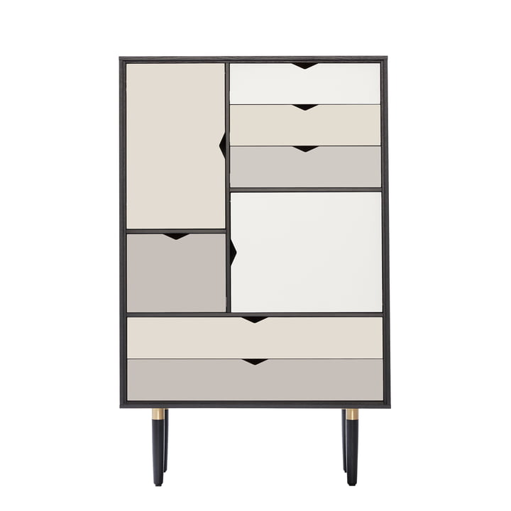 S5 Storage Unit by Andersen Furniture in black lacquered oak (front panels silver, iron, doeskin)