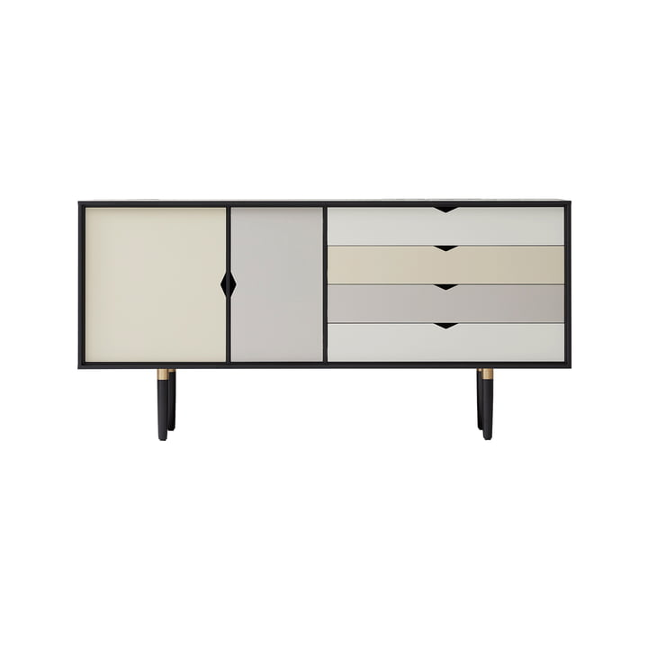 S6 Sideboard by Andersen Furniture in black lacquered oak (front panels silver, iron, doeskin)
