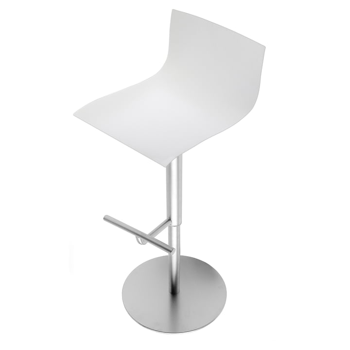 La Palma - Thin Barhocker 70 - 95 cm total height, lacquered white / stainless steel frame