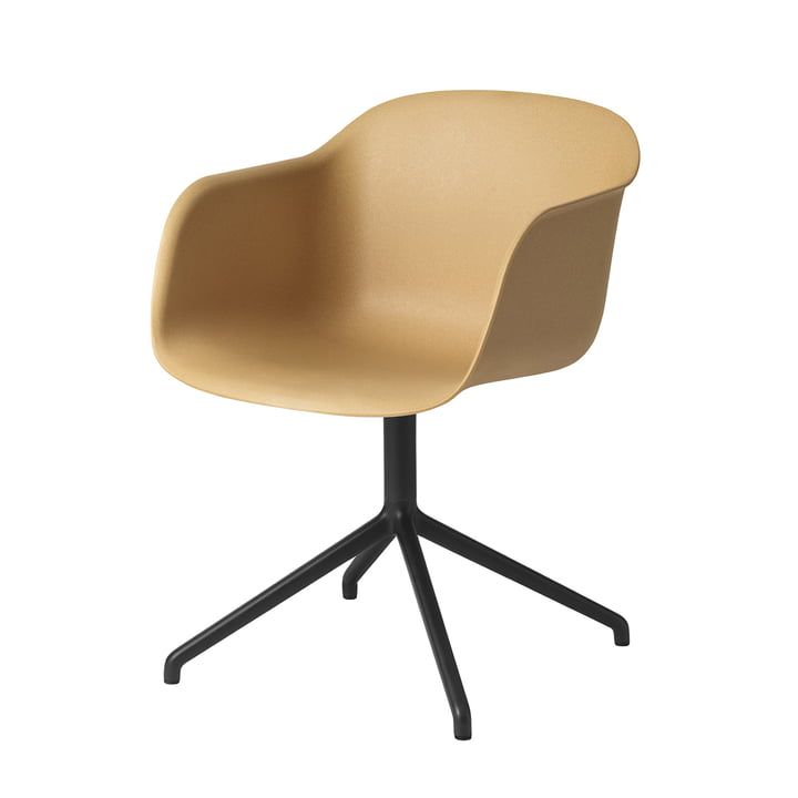 Muuto - Fiber Chair - Swivel Base, ochre / black