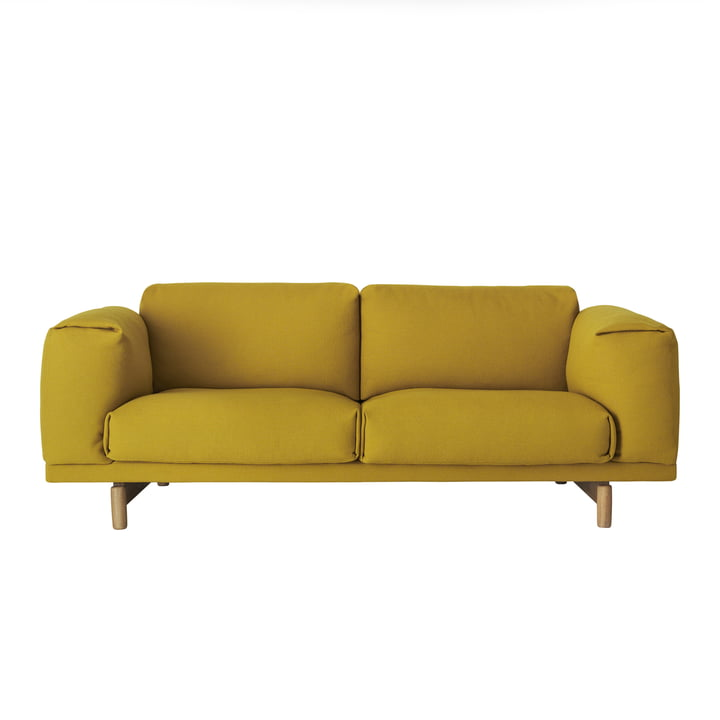 Muuto - Rest Sofa, 2 seater, mustard yellow (Hallingdal 457) / oak natural