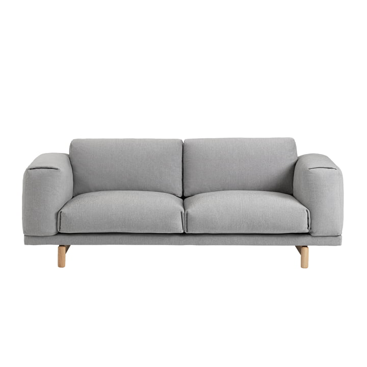 Muuto - Rest Sofa, 2 seater, grey (Hallingdal 123), oak natural