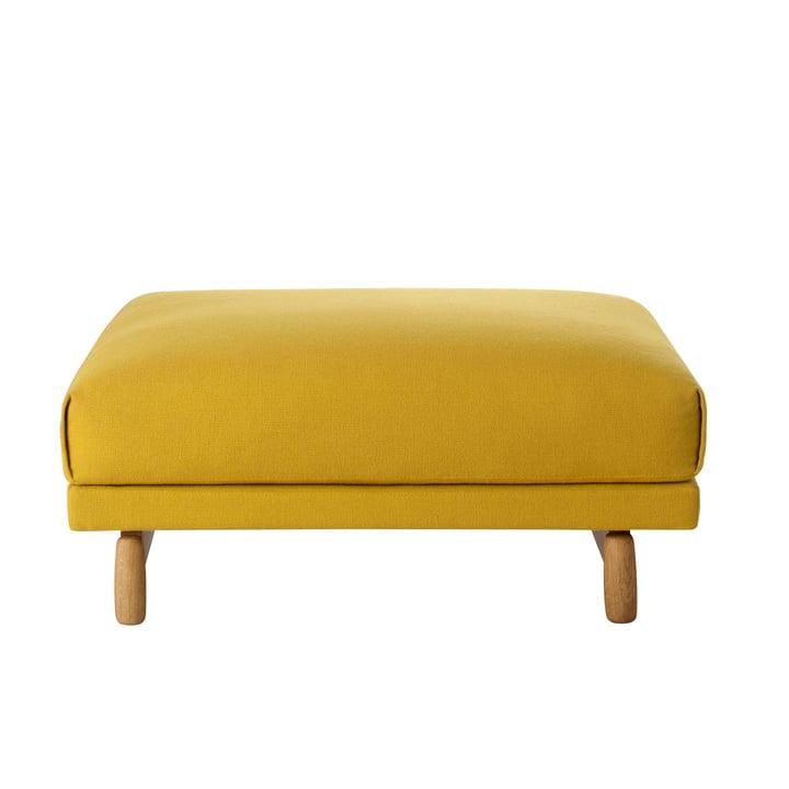 Rest pouf mustard yellow (Hallingdal 457) / oak natural by Muuto