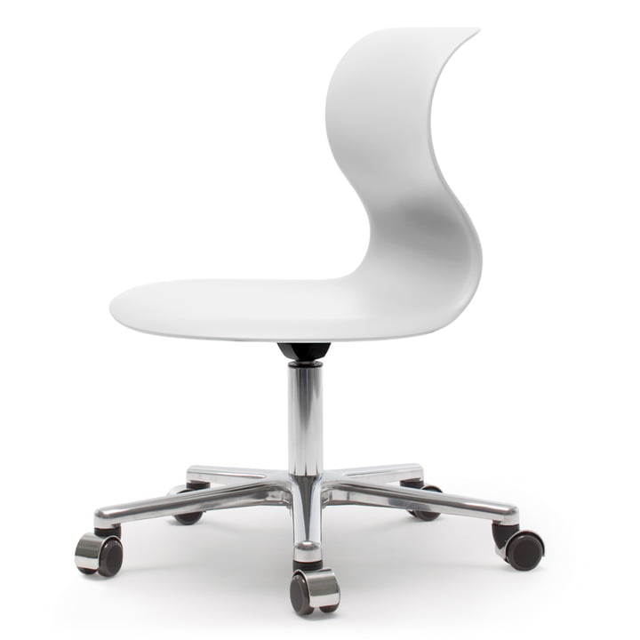 Flötotto - Pro 6 Swivel Chair, snow white, polished aluminium frame, soft castors (with chrome cover)