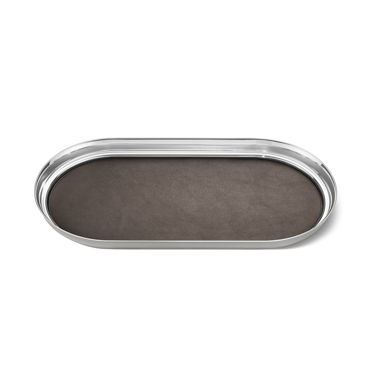 Manhattan Tray 35 x 18 cm by Georg Jensen out of Stainless steel and Leather