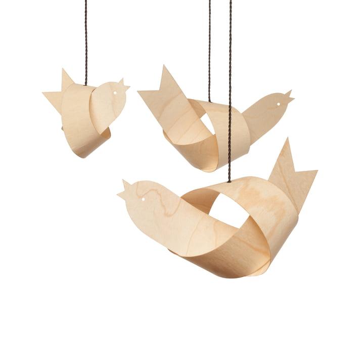 Decoration Birds Johann (set of 3) by Design im Dorf made of Maple