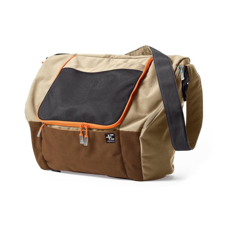 Ika Kopu medium size beach bag by Terra Nation in light brown / dark red