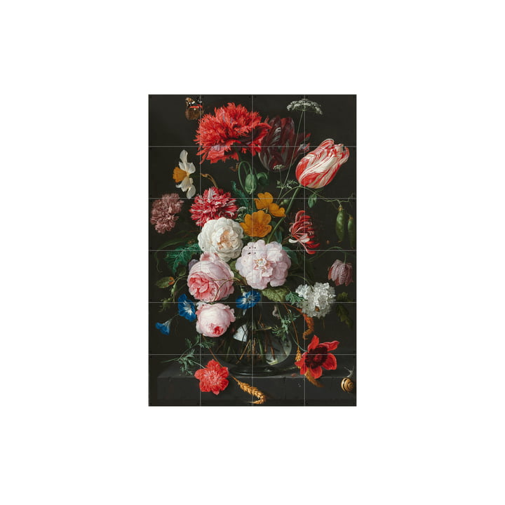 Flower Still Life in a Glass Vase (De Heem) by IXXI in 80 x 120 cm