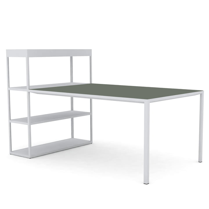 New Order Shelf with Table by Hay in Light Grey / Linoleum Green