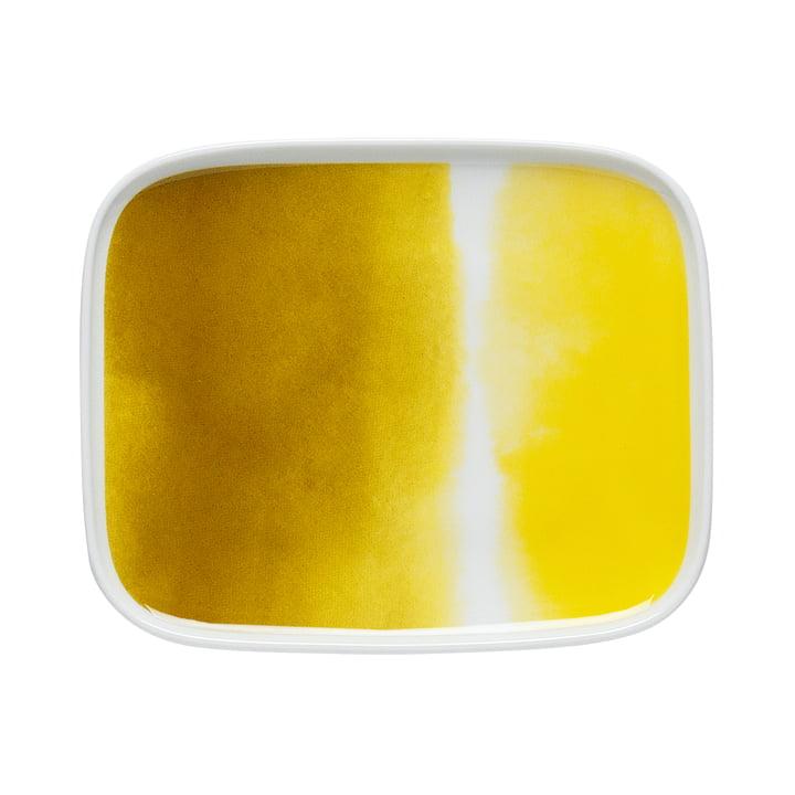 Oiva Sääpäiväkirja platter 15 x 12 cm by Marimekko in yellow