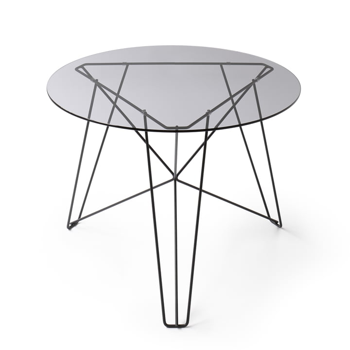 Spectrum - IJhorst coffee table L, Ø 60 cm, black (RAL 9005) / smoked glass