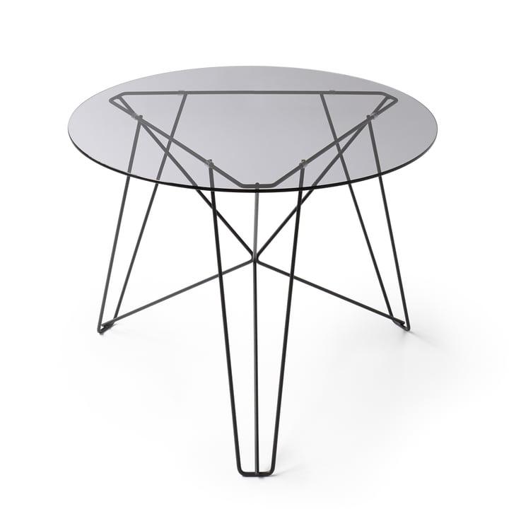 Spectrum - IJhorst coffee table L, Ø 60 cm, black (RAL 9005) / smoked glass