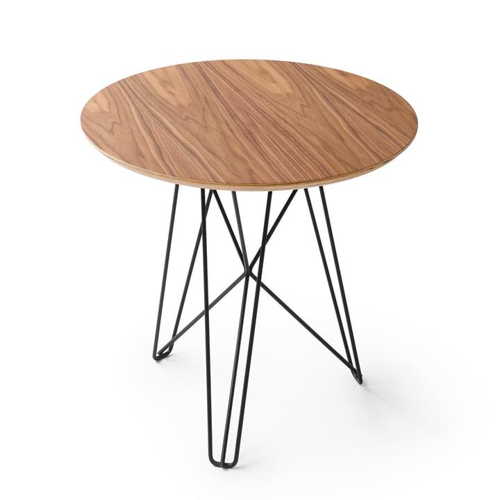 Spectrum - IJhorst side table M, Ø 50 cm, black (RAL 9005) / walnut
